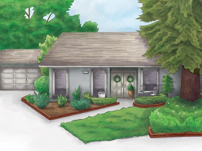 Fresno Home house home architecture digital illustration paint watercolor illustration
