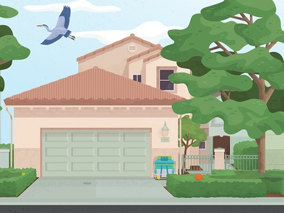 Beach House texture california coast trees bird home vector architecture digital illustration illustration