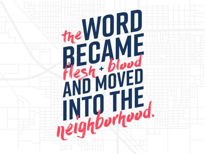 The Word church city map neighborhood bible quote promotion typography
