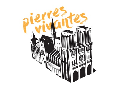 Notre Dame typography church tshirt art tshirt vector illustration art history architecture paris france cathedral