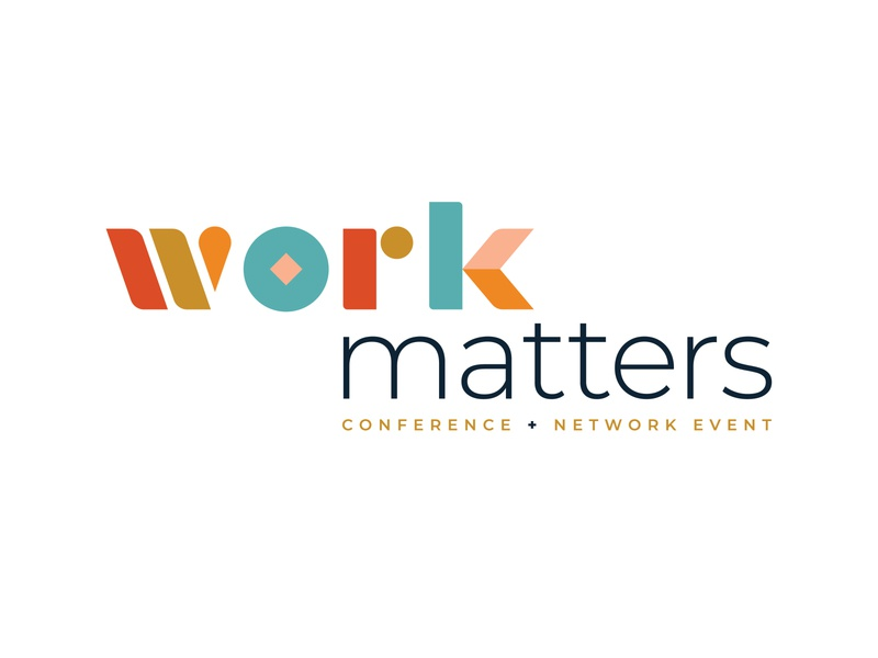 Work Matters vocation career job event branding geometric shapes custom type typography logo expo show convention conference