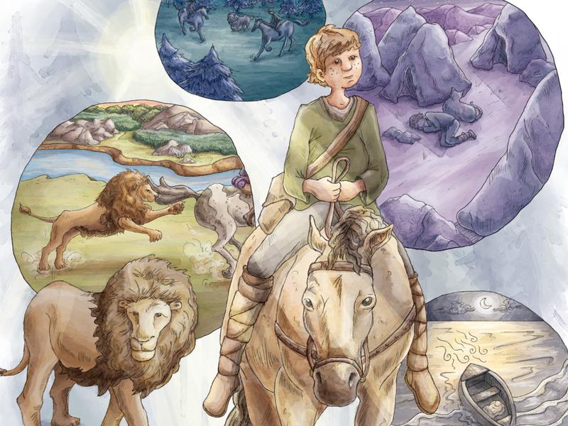 A Horse and His Boy wilderness forest vignette lion fantasy literature illustration digital watercolor painting watercolor illustration
