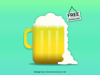 Beer Glassware - Free Vector Illustration - ilovecolours party vector illustration vector graphic vector summer drink illustration food foam beer glassware beer foam beer