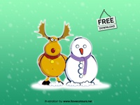 Christmas illustration - snowman vector graphic - free download
