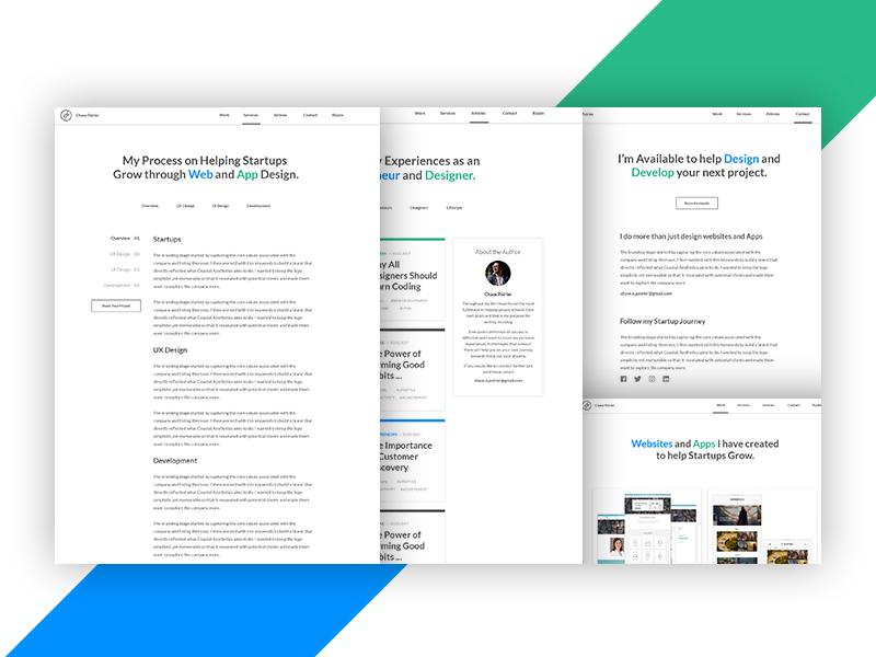 Portfolio Site Internal Pages portfolio site web design freelance design startups blog