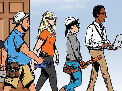 Engineering Students walking engineering students university