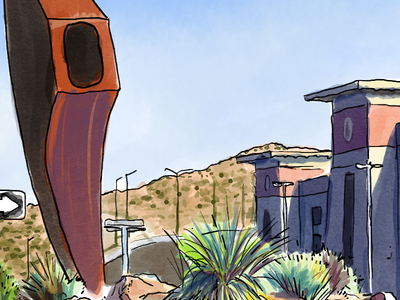 UTEP Mining Mines Statue Interpretation plein air digital photoshop watercolor university abstract