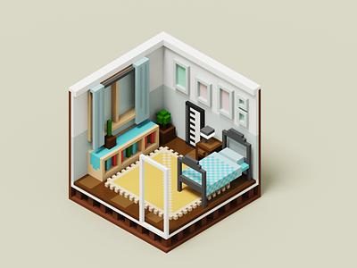 Room #001 cubos 3d room isometric miniature pixelart voxels voxel magicavoxel