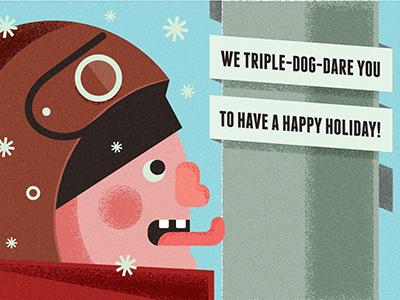 Holiday Card holiday christmas card story tongue illustration simple flat greeting card funny