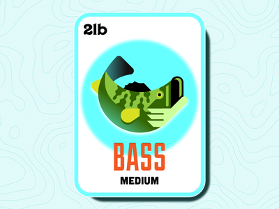 Medium Bass crypto nft card illustration outdoors fishing