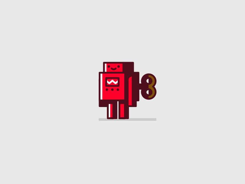 Windup Robot robot logo icon illustration simple flat drupal