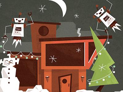 Holiday Card Snippet robot drupal card illustration fun decorations holiday
