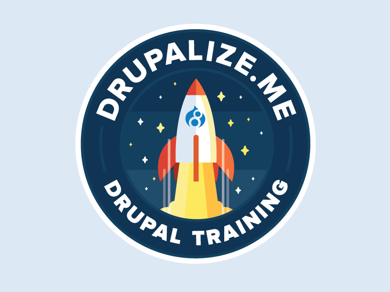 Drupal 8 Sticker simple rocket illustration sticker design drupal