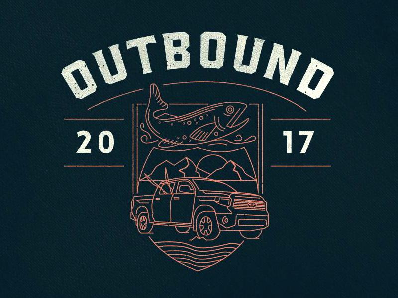 Outbound  adventure line illustration fish truck logo badge fishing