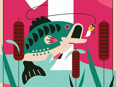 Bass vector rustic design fish illustration