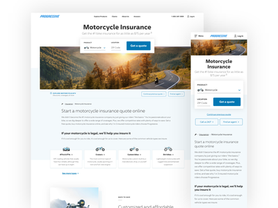 Motorcycle Page interactiondesign ux clean simple motorcycle insurance uiux design website