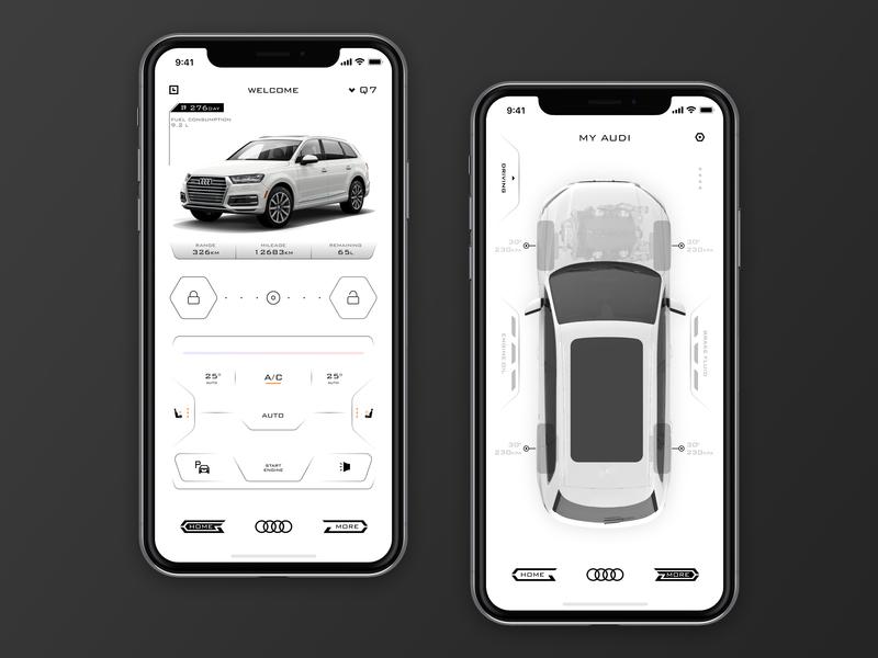 Audi remote application design light car interface icon app ui
