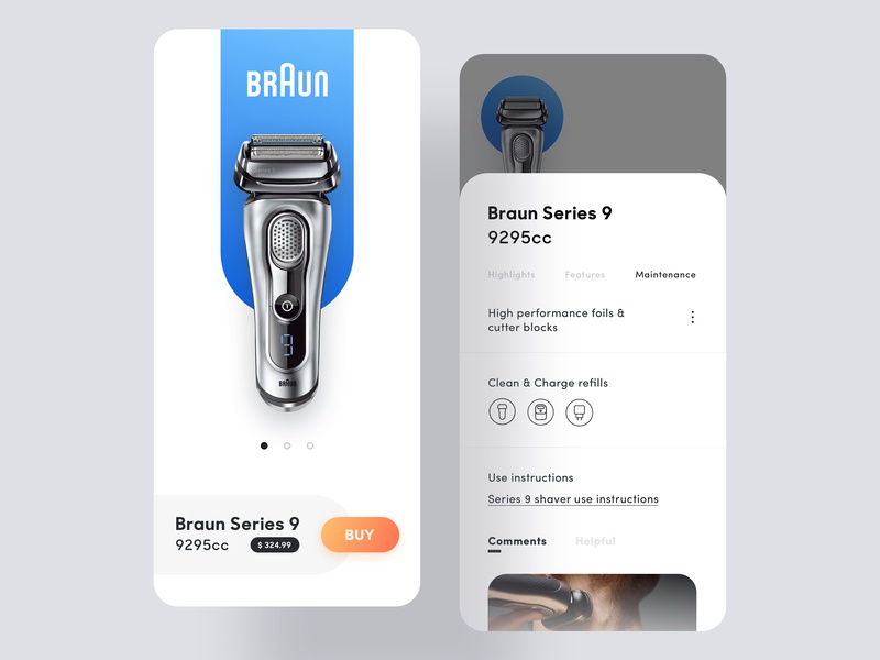 Shaver purchase interface design ui icon interface blue app braun shaver