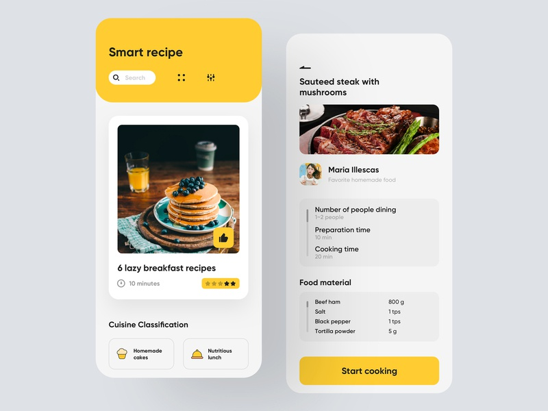 Concept smart learning cooking app design smart interface icon ui app smart learning cooking apps