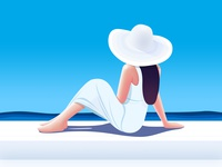 She quietly looked out into the boundless sea. icon illustration ocean sun summer girl blue beach