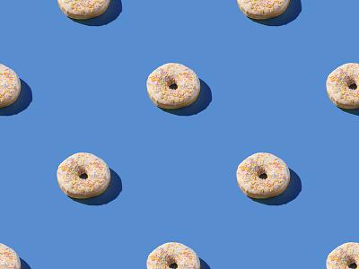 Vanilla donuts pattern hard light food and drink minimal white blue seamless vanilla dessert doughnuts doughnut donuts donut food photo photography
