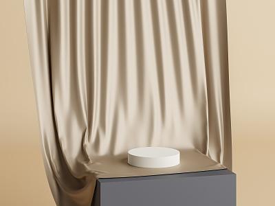 Podium with golden fabric illustration abstract cylinder beige gold golden 3d render 3d blender3d fabric cloth stand showcase podium blender
