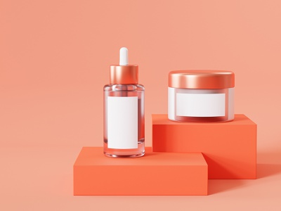 Cosmetics health care selfcare orange podium glass jar serum template mock up mockup cosmetics cosmetic blender render 3d render 3d