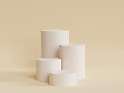 Beige podiums advertising product scene podium beige blender3d blender abstract 3d render render 3d