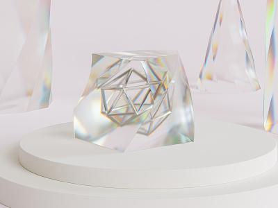 Crystal glass dispersion crystal abstract blender 3d render render 3d