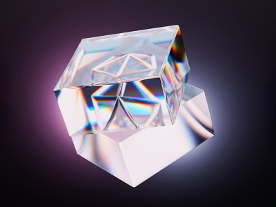 Crystal cube abstract dispersion glass crystal three-dimensional render 3d blender