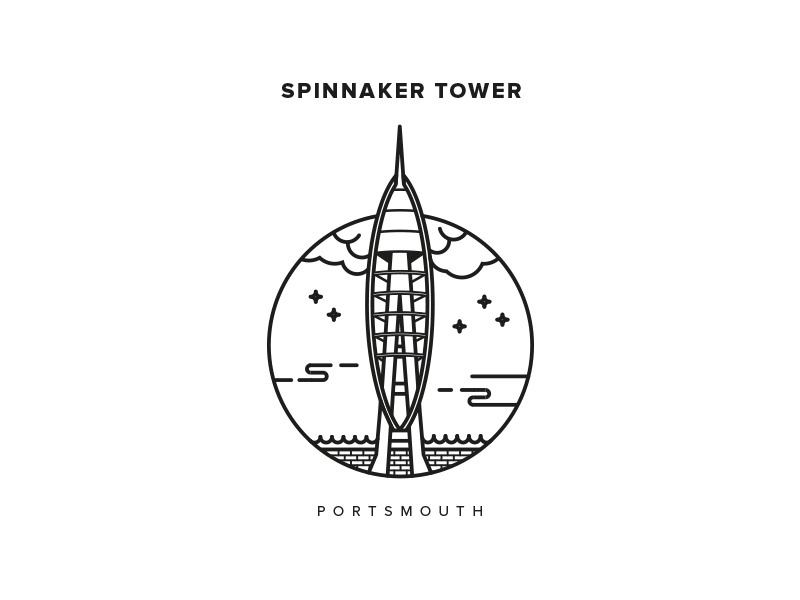 Spinnaker Tower illustration icon outline spinnaker tower portsmouth strokes vector