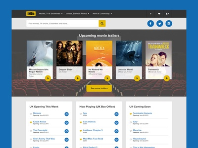 IMDB Redesign (exercise) visual design movies video ux ui imdb
