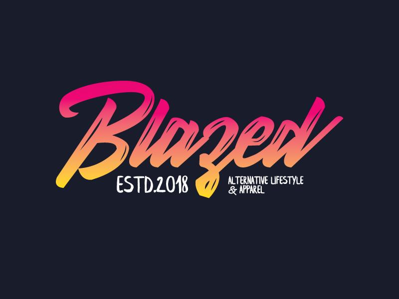 Blazed lettering typography branding logo
