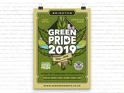 Green Pride 2019 Poster Design green pride brighton festival weed cannabis illustrator poster design vector branding illustration