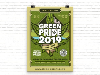 Green Pride 2019 Poster Design green pride brighton festival weed cannabis illustrator poster design vector branding illustration