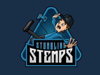 Stumbling Stemps illustration design vector typography logo