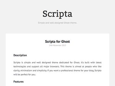 Scripta - Ghost Theme scripta ghost theme simple flat blog minimalism online creativemarket clarity