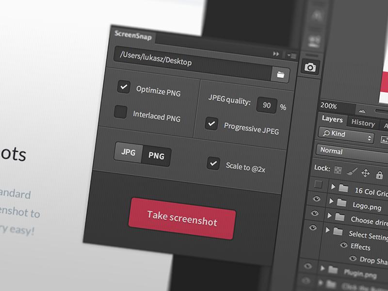 ScreenSnap - Photoshop Plugin psd photoshop adobe cc plugin extension addon screenshot screen export tool for