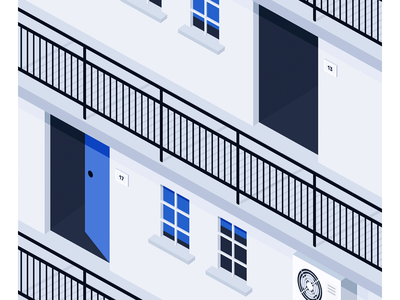 Apartment Building balcony door window blue simple of block illustration flat