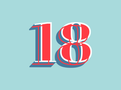 Eighteen font vintage poster 18 letter typography