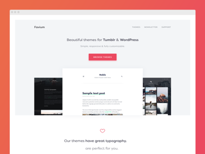 Favium.co landing page clean simple ui webdesign store shop theme wordpress tumblr landing page website web