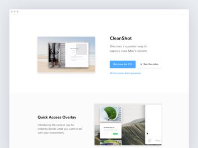 CleanShot website minimal clean screenshot menubar pixelsnap mac osx macos app website