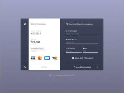Credit card checkout interface design / UX for dailyUI