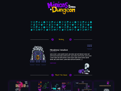 """Game Landingpage """"Minions within a Dungeon"""" for Dailyui"""