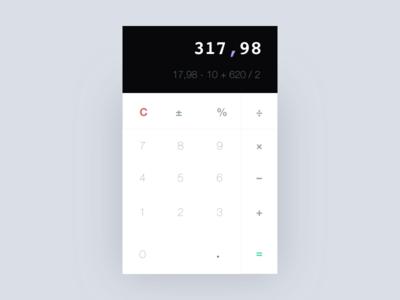 Calculator UI for DailyUI (Minimal, Flat approach)
