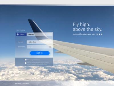 Airline UI/UX lightweight login screen