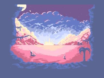 tropical sunset / night pixelart background