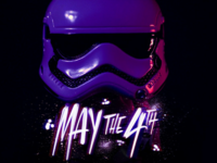 May the 4th no fonts needed storm trooper neon minimal font script illustration illustrator photoshop procreate ipad hand lettering handlettering lettering letters typography type star wars starwars