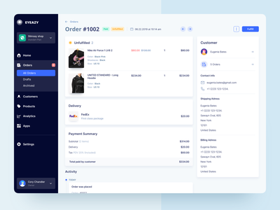 Marketplace Order Page admin panel customer order e-commerce marketplace product design