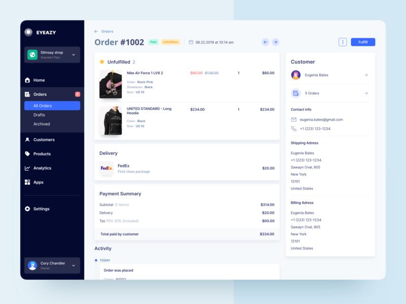 UGEM Marketplace Order Page admin panel customer order e-commerce marketplace product design